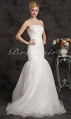 Trumpet/Mermaid Floor-length Tulle Spaghetti Straps Wedding Dress