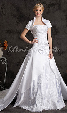 Ball Gown Cathedral Train Satin Sweetheart Wedding Dress With Wrap