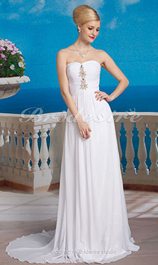 A-line Chiffon Sweep/Brush Train Sweetheart Wedding Dress
