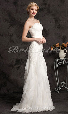Trumpet/Mermaid Lace Sweep/Brush Train Strapless Wedding Dress