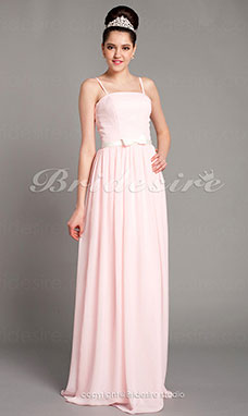 Sheath/Column Satin Floor-length Spaghetti Straps Bridesmaid Dress