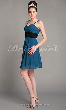 Sheath/Column Knee-length Sweetheart Modern Chiffon Bridesmaid Dress with Removale Straps