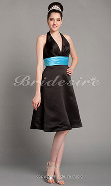 A-line Satin Tea-length Halter Bridesmaid Dress