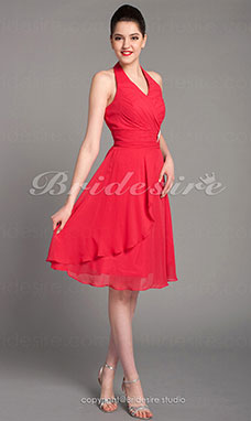 A-line Chiffon Tea-length Halter Bridesmaid Dress