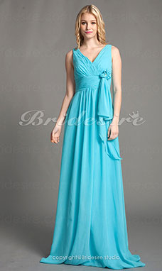 A-line Chiffon Floor-length V-neck Bridesmaid Dress
