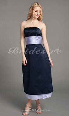 A-line Satin Tea-length Strapless Bridesmaid Dress