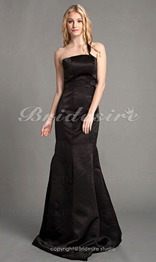Trumpet/Mermaid Satin Floor-length One Shoulder Bridesmaid Dress