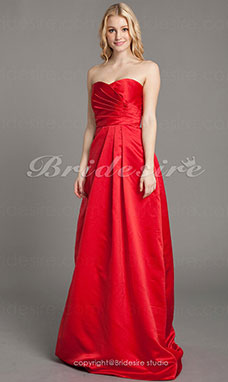 A-line Satin Floor-length Sweetheart Bridesmaid Dress