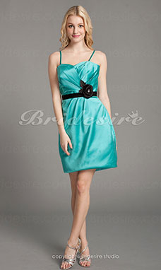 Sheath/Column Satin Mini/Short Spaghetti Straps Bridesmaid Dress