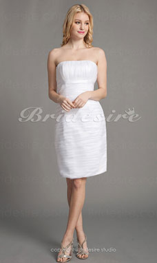 Sheath/Column Chiffon Mini/Short Strapless Bridesmaid Dress