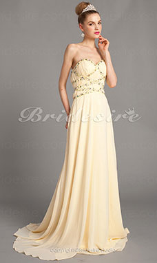 A-line Strapless Sweetheart Chiffon And Tulle Floor-length Evening Dresses
