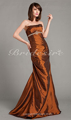Trumpet/Mermaid Brown Strapless Sweetheart Taffeta Floor-length Evening Dresses