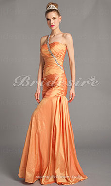 Trumpet/Mermaid Vintage One Shoulder Sweetheart Taffeta Floor-length Evening Dresses