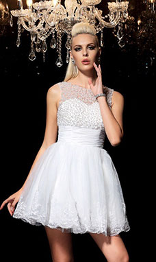 A-line Bateau Sleeveless Organza Dress