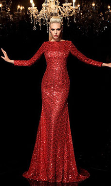 Sheath/Column Scoop Long Sleeve Sequins Dress