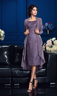 Sheath/Column Sweetheart Long Sleeve Chiffon Mother of the Bride Dress