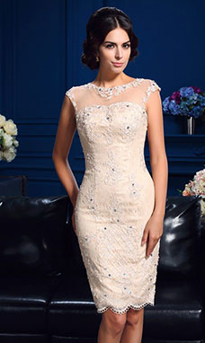 Sheath/Column Scoop Sleeveless Lace Mother of the Bride Dress