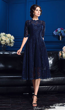 A-line High Neck Half Sleeve Lace Dress