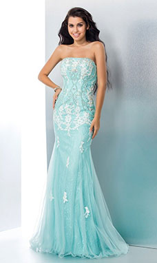 Trumpet/Mermaid Strapless Sleeveless Lace Dress