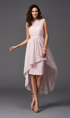 A-line Scoop Sleeveless Chiffon Dress