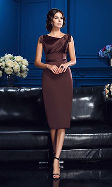 Sheath/Column V-neck Sleeveless Satin Mother of the Bride Dress
