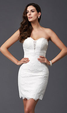 Sheath/Column Sweetheart Sleeveless Lace Dress