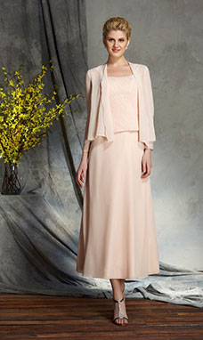 A-line Square Sleeveless Chiffon Mother of the Bride Dress