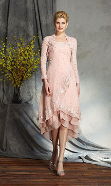 A-line Strapless Long Sleeve Chiffon Mother of the Bride Dress