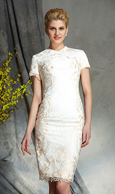 Sheath/Column Jewel Short Sleeve Lace Mother of the Bride Dress