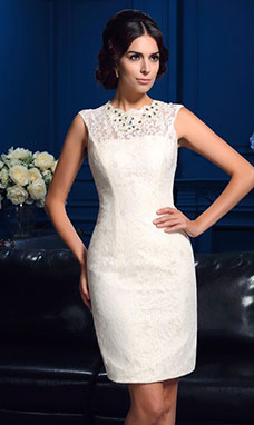 Sheath/Column Scoop Sleeveless Lace Dress