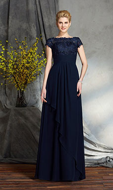 A-line Bateau Short Sleeve Chiffon Mother of the Bride Dress