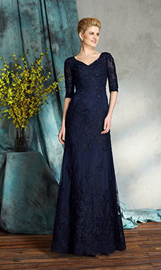 Sheath/Column V-neck Half Sleeve Lace Mother of the Bride Dress
