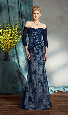 Trumpet/Mermaid Off-the-shoulder Half Sleeve Lace Dress