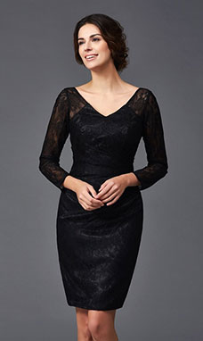 Sheath/Column V-neck Long Sleeve Lace Dress