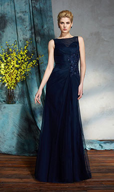 Sheath/Column Bateau Sleeveless Tulle Dress