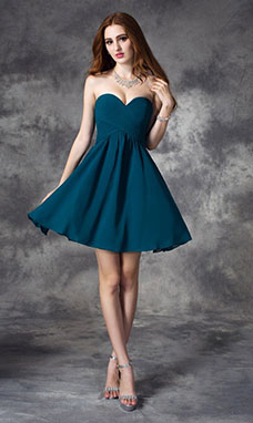 A-line Sweetheart Sleeveless Chiffon Dress