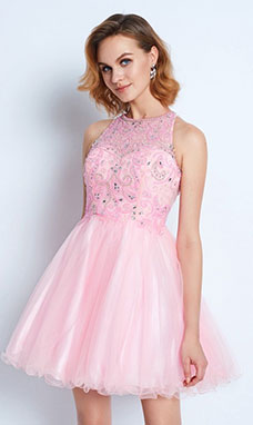 A-line Scoop Sleeveless Tulle Dress