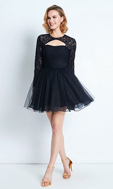 A-line High Neck Long Sleeve Tulle Dress