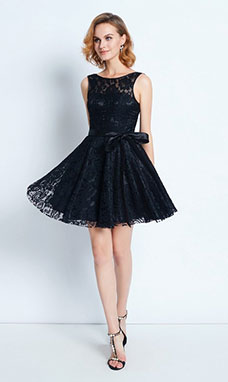 A-line Bateau Sleeveless Lace Dress