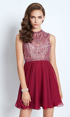 A-line Jewel Sleeveless Chiffon Dress