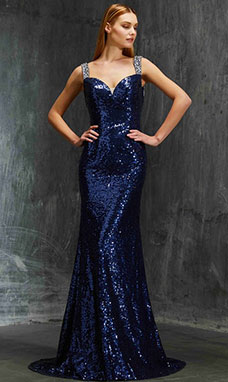 Sheath/Column V-neck Sleeveless Sequins Dress