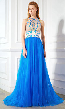 A-line Jewel Sleeveless Tulle Dress