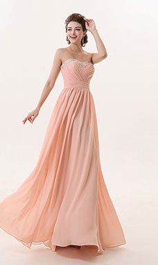 A-line Sweetheart Floor-length Chiffon Prom Dress