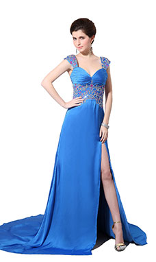 A-line Spaghetti Straps Sweep/Brush Train Stretch Satin Evening Dress