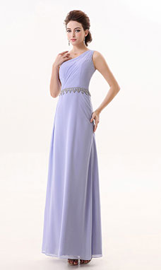 A-line One Shoulder Ankle-length Chiffon Bridesmaid Dress