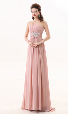 A-line Strapless Sweep/Brush Train Chiffon Bridesmaid Dress