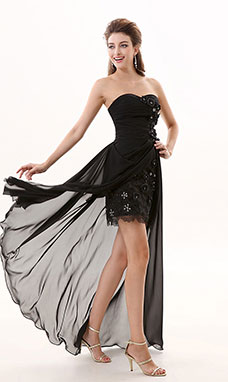Sheath/Column Sweetheart Asymmetrical Chiffon Prom Dress