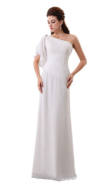 Sheath/Columnn One Shoulder Floor-length Chiffon Wedding Dress