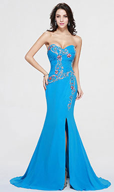 Sheath/Column Sweetheart Sweep/Brush Train Chiffon Prom Dress