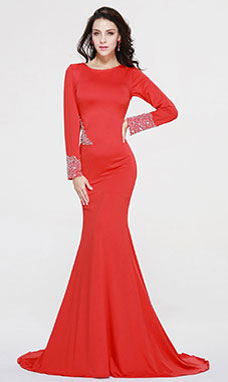Trumpet/Mermaid Scoop Sweep/Brush Train Charmeuse Evening Dress